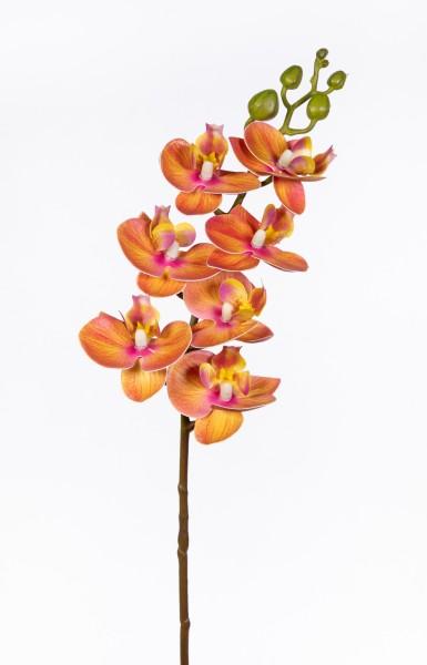 Orchideenzweig Real Touch 62cm orange ZJ Kunstblumen künstliche Orchidee Orchideen Blumen