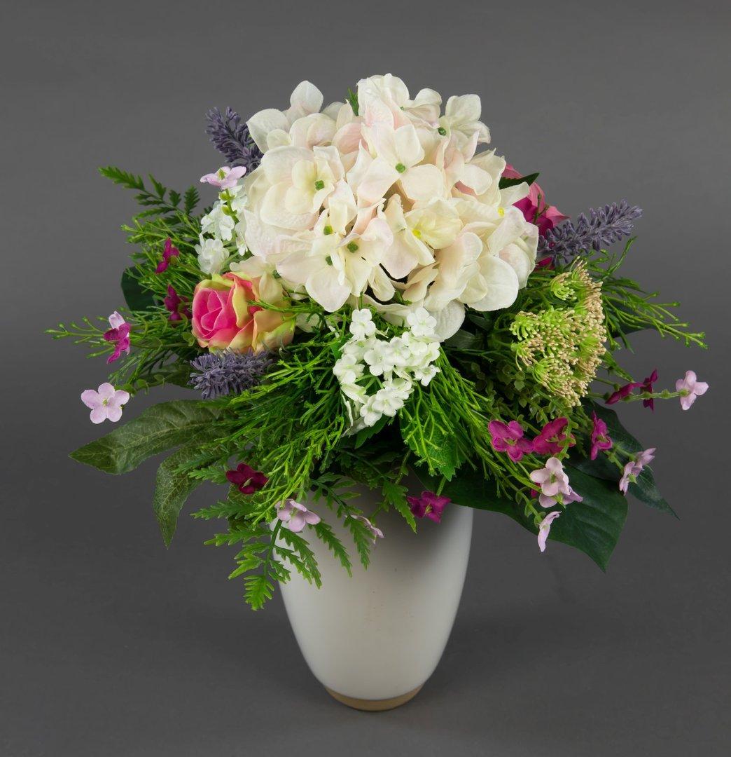 bunter sommerstrau mit hortensien rosen 38x28cm k nstlicher strau kunstblumen ebay. Black Bedroom Furniture Sets. Home Design Ideas