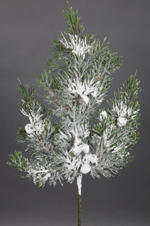 Seidenblumen Ro/ß Zedernzweig mit Schnee 45cm GA k/ünstlicher Zypressenzweig Tannenzweig Zeder